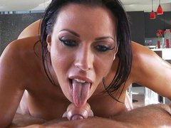 Pornstar Rachel Starr sucks and strokes strong dick