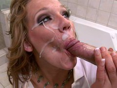 Nikki Sexx receiving messy facial cumshot after being her ass pounded
