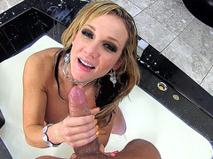 Blonde girl Nikki Sexx sucking his pole POV style