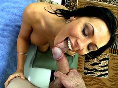 Rachel Starr sucking and strocking big penis