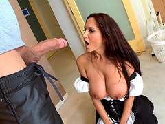 Ava Addams in a maid outfit sucking biggest cock