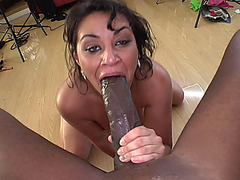 Charley Chase deepthroats giant black shlong and takes it in her cunt