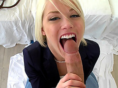 Cute blonde Ash Hollywood sucks stiff cock POV style