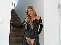 Brooklyn Lee wearing fantastic latex outfit rubbing her clit