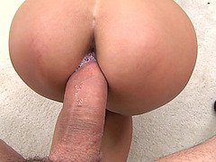 Sexy chick April O Neil gets her plump pussy pounded POV doggie