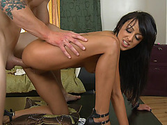 Tight slut Breanne Benson getting slammed doggy style