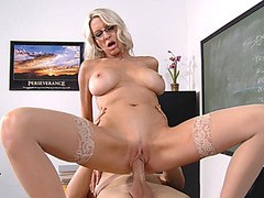 Naughty MILF Emma Starr rides hard cock reverse cowgirl style