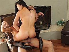 Busty pornstar Audrey Bitoni wearing high heels riding fat dick