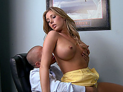 Samantha Saint using her big tits in order to secure her job