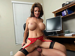 Big boobed MILF slut Deauxma riding stiff cock like a champ