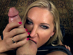 Naughty pornstar Devon Lee sucking cock and balls POV style