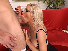 Emma Starr wearing sexy glasses sucking his cock and balls