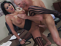 Anissa Kate wearing black stockings getting screwed by a hard cock