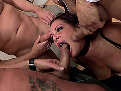 Nasty pornstar Tory Lane gets attacked by three cocks at the same time