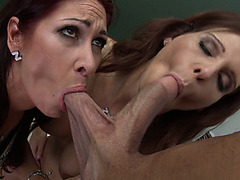 Tiffany Mynx and Syren De Mer sucking his cock and balls