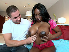 Chocolate sexy babe Jada Fire gets her super huge tits worshipped