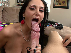 Hottest MILF Ava Addams sucking wide cock POV style