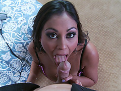 Hot Indian MILF Priya Rai sucks, strokes and titfucks his cock
