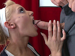 Little blonde slut LouLou eagerly works over his cock orally