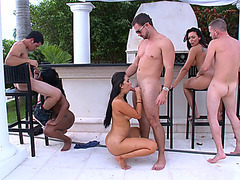 Rachel Starr, Valerie Kay and Cherie Magic fucking three lucky SOBs outdoor