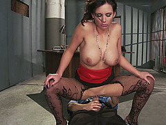 Smoking hot pornstar Phoenix Marie riding the watch officer in the prison