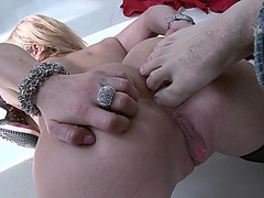 Shyla Stylez licks his foot fingers and sticks them in her ass
