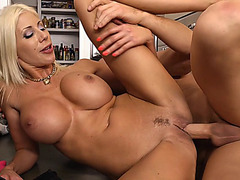 Naughty MILF Puma Swede takes his meaty shlong from the rear