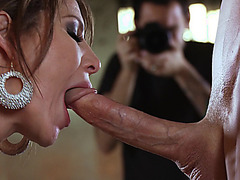 Fantastic babe Jenni Lee happily takes his large dick in her mouth
