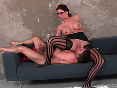 Phoenix Marie riding his face and strocking his big penis during the process