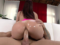 Tiffany Mynx impales her oiled phat booty on his dick and rides it anal