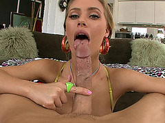 Freaky hot pornstar Nicole Aniston sucking and tit fucking his shlong POV style