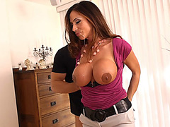 Big tits MILF Ariella Ferrera having fun by sucking and fucking two guys