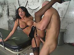 Anissa Kate wearing stockings and high heels getting slammed in the hospital basement