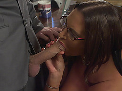 Emma Butt fell to her knees and started sucking his dick