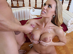 Nicole Aniston gets her huge silicone tits sprayed with a big load of cum