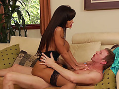 Naughty mom Lisa Ann rides hard pole cowgirl and reverse cowgirl