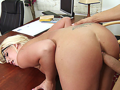 Sadie Swede bent over the table getting that dick in her wet cunt