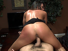 Ariella Ferrera sits on his dick and rides it right on the office table