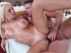 Busty blonde Jacky Joy takes his hard cock from the rear