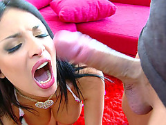 Dark haired babe Anissa Kate opened her mouth wide and shoved his dick into her throat