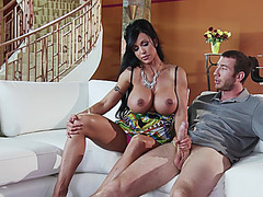 Jewels Jade strokes his big cock and lets him play with her big tits