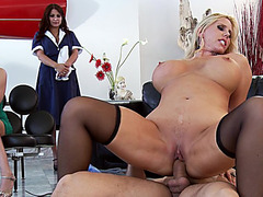 Busty mom Karen Fisher riding big cock in front of her clients