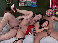 Hottest MILF Ava Addams getting her mouth, ass and pussy fucked in threesome