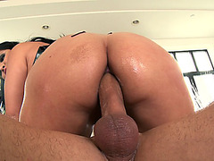 Sophia Lomeli takes his fat dick balls deep in her oiled asshole