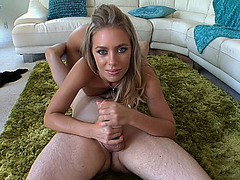 Nicole Aniston strocking his cock as she gets her pussy eaten out