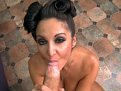 Ava Addams unzip his pants and deepthroat his super large cock