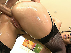 Sheena Ryder in a fishnet stockings takes massive hose in her asshole