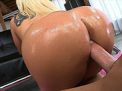 Dayna Vendetta fucks him as she nails her oiled booty on his dick