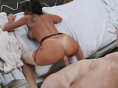 Horny doctor Lezley Zen takes hard cock doggy style