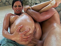Anal bitch Tory Lane takes really big cock deep into her oiled anus